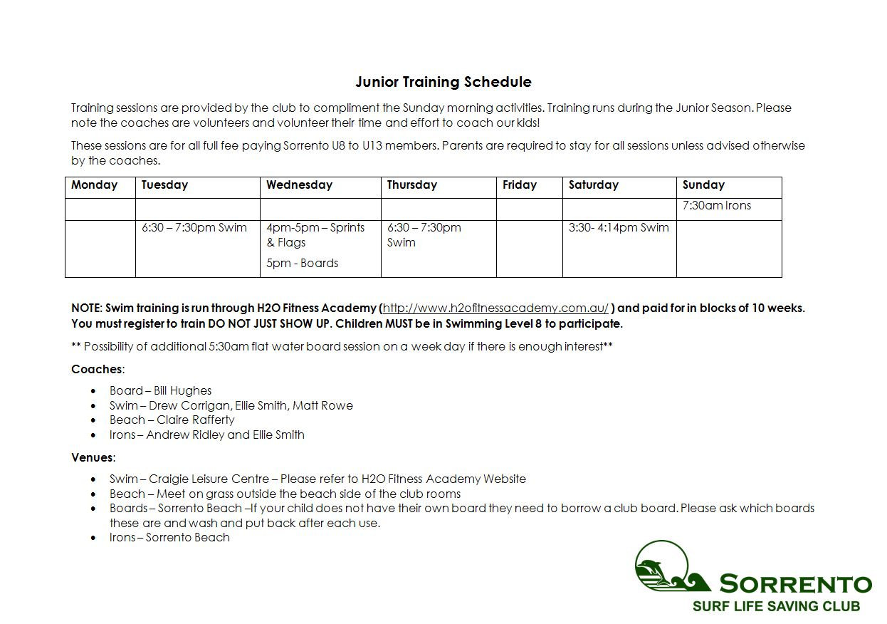Junior Training Sessions